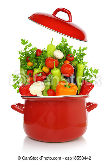 Colorful vegetables in a red cooking pot isolated on white background - csp18553442