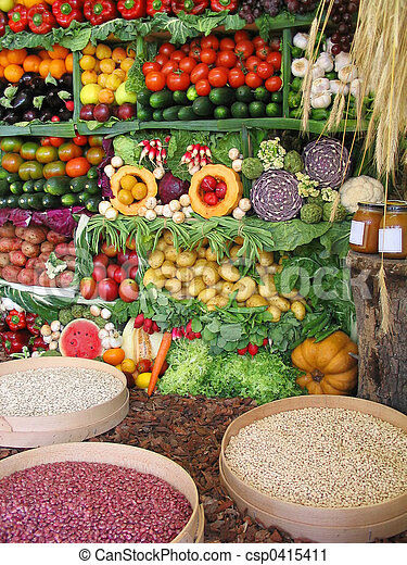 Colorful vegetables,fruits and beans - csp0415411