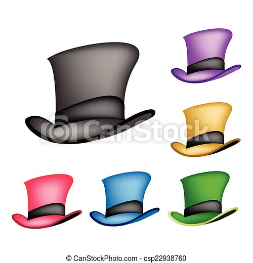 19ddd6c262c5d Colorful Victorian Style Top Hat on White Background - csp22938760