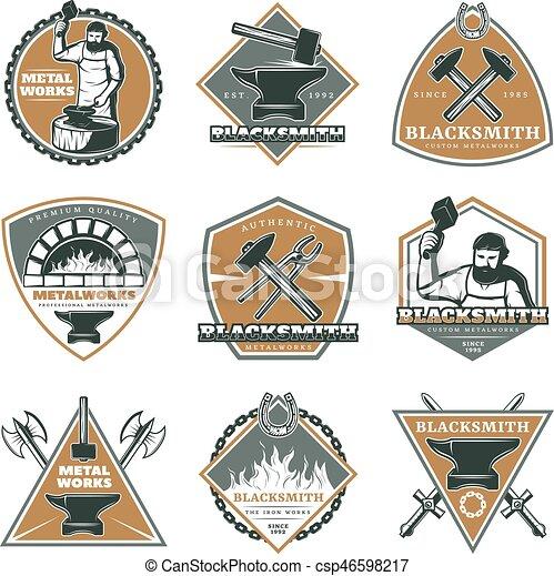 Colorful Vintage Metalworks Labels Set - csp46598217