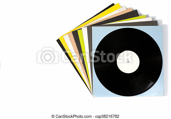 Colorful vinyl records on white background - csp38216782