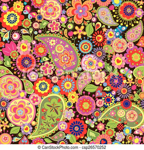 Colorful Wallpaper With Funny Spring Flowers And Paisley