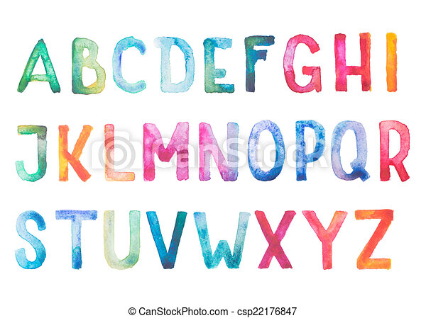 Colorful watercolor aquarelle font type handwritten hand draw doodle abc alphabet letters.  - csp22176847
