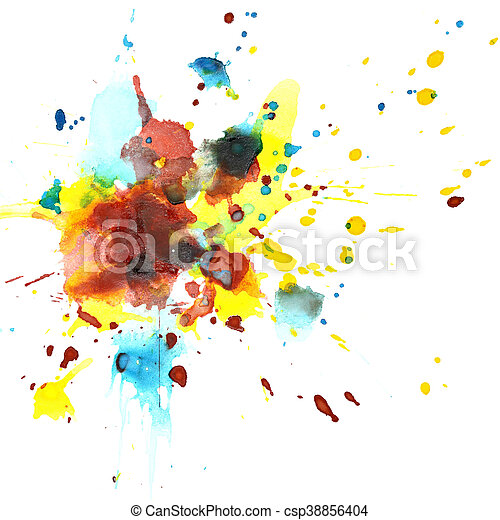 Colorful watercolor splashes - csp38856404