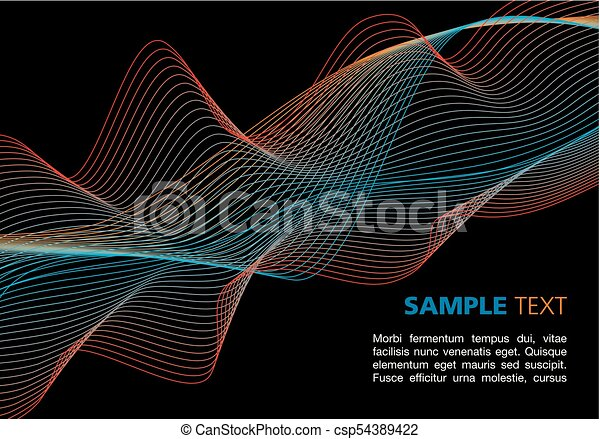 Colorful waves on black background - csp54389422