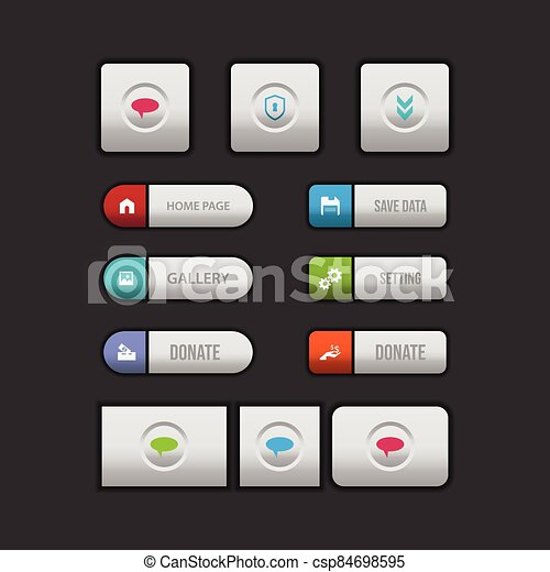 Colorful web button on a dark background - csp84698595