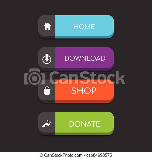Colorful web button on a dark background - csp84698575