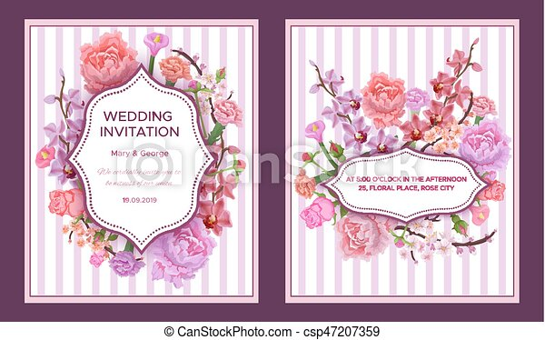 Colorful wedding invitation cards with greeting text in clipart colorful wedding invitation cards csp47207359 stopboris Images