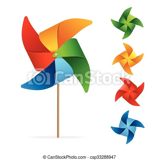 Colorful Windmill Set. Vector - csp33288947