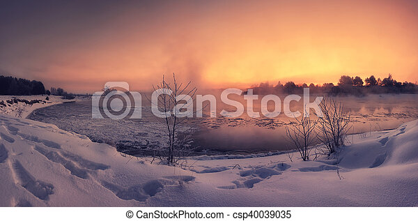Colorful winter dawn on the lake - csp40039035