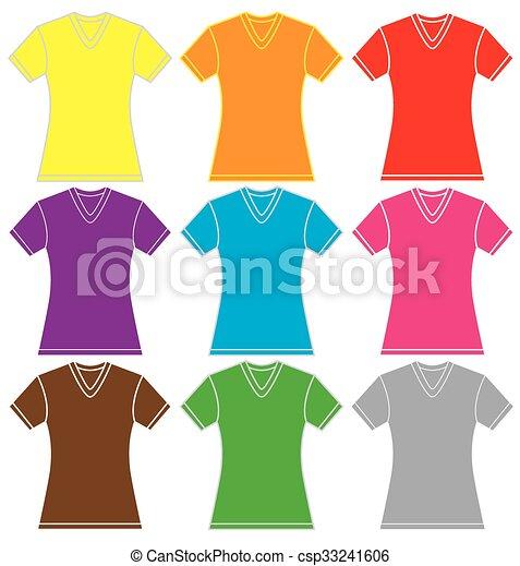 Colorful Womens V Neck Shirt Template