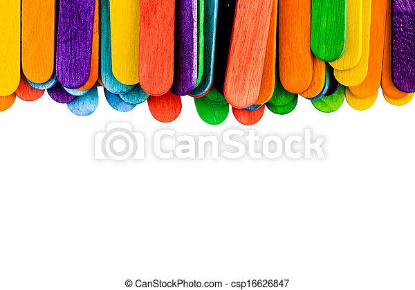 colorful wood ice-cream stick isolated on white background. - csp16626847