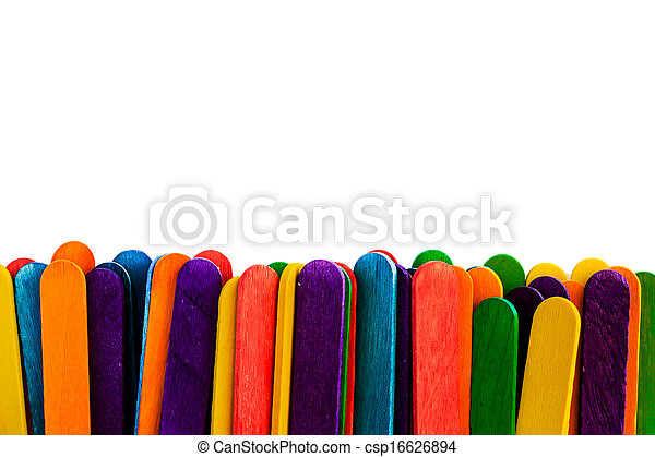 colorful wood ice-cream stick isolated on white background. - csp16626894