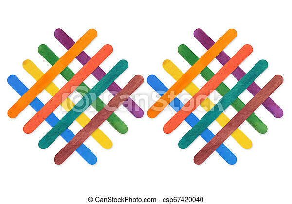 colorful wood ice-cream stick. on white background - csp67420040