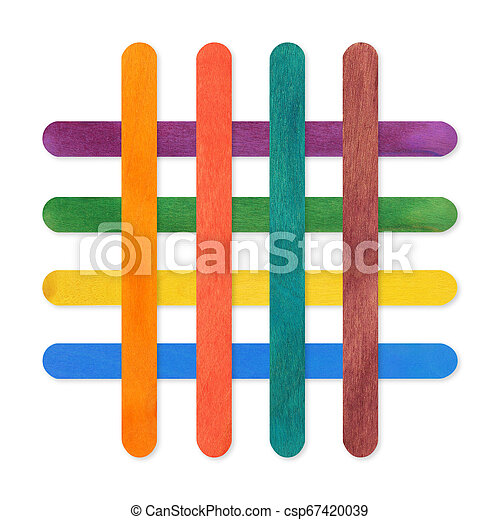 colorful wood ice-cream stick. on white background - csp67420039