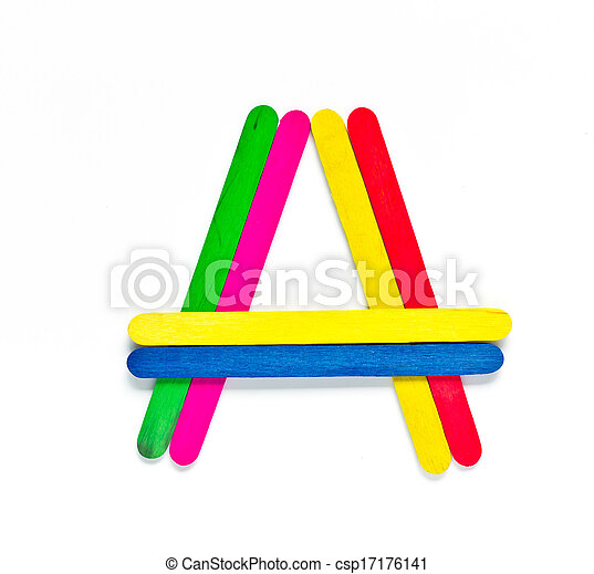 colorful wood ice-cream stick to create A on white background. - csp17176141