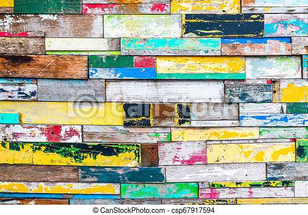 Colorful wood wall texture - csp67917594
