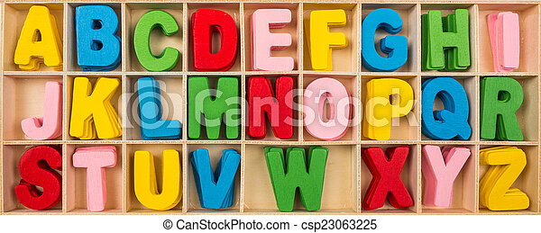 Colorful wooden alphabet letters set - csp23063225