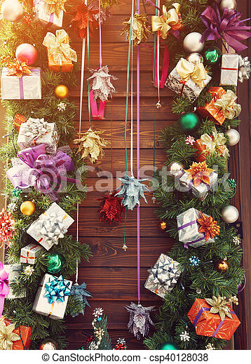 colorful wooden christmas backgroun - csp40128038