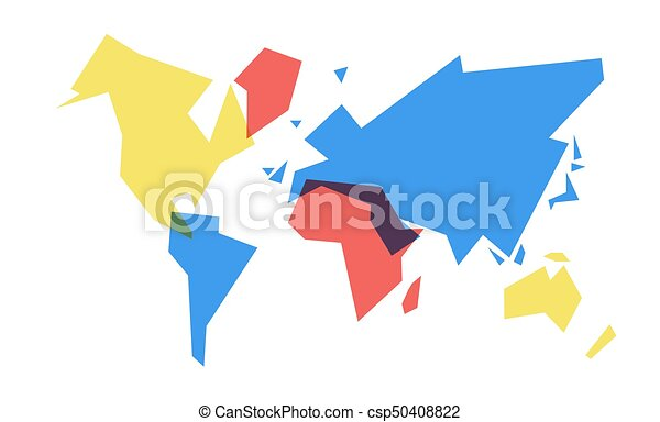 Colorful World Map Abstract Geometry Illustration Abstract World