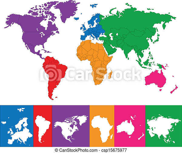 Colorful world map color map showing the various continents colorful world map csp15675977 gumiabroncs Images