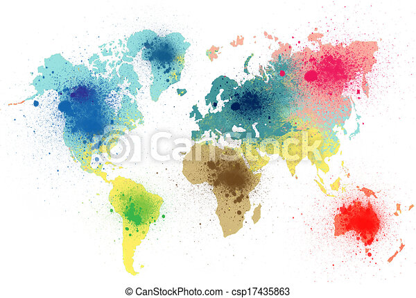 Colorful world map paint stains stock illustration search clip art colorful world map paint stains csp17435863 gumiabroncs Gallery