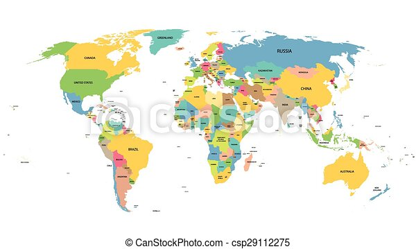 Colorful world map with names of all countries vectors illustration colorful world map with names of all countries csp29112275 gumiabroncs Gallery