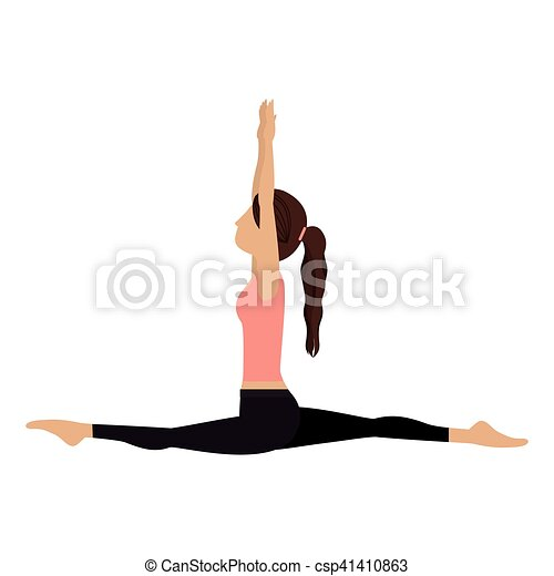 colorful yoga woman monkey pose crescent vector illustration