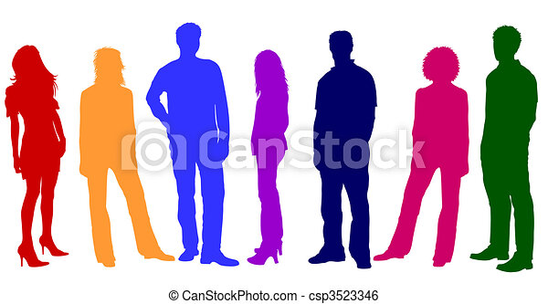 Colorful Young People Silhouettes - csp3523346
