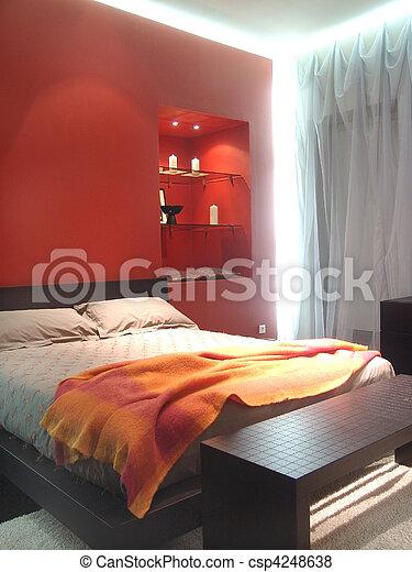 colori, illuminato, rosso, camera letto - csp4248638