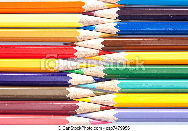 colori pastelli, fila, organizzato, varietà - csp7479956