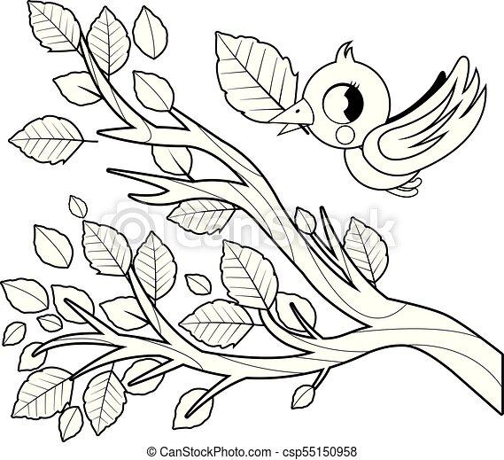 Colorido, árbol, leaves., pájaro, libro, negro, rama, página blanca ...
