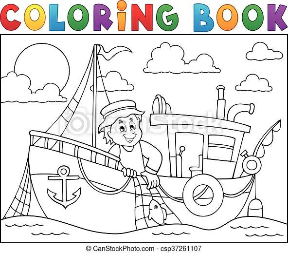 Colorido, 1, tema, libro, barco de pesca. Colorido, eps10 ...