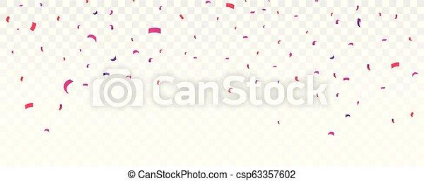 Celebración Banner con confetti colorido, aislado en el fondo transparente - csp63357602