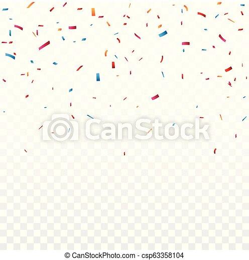 Celebración con confeti colorido, aislado en el fondo transparente - csp63358104