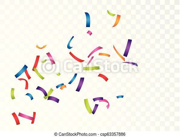 Celebración con confeti colorido, aislado en el fondo transparente - csp63357886