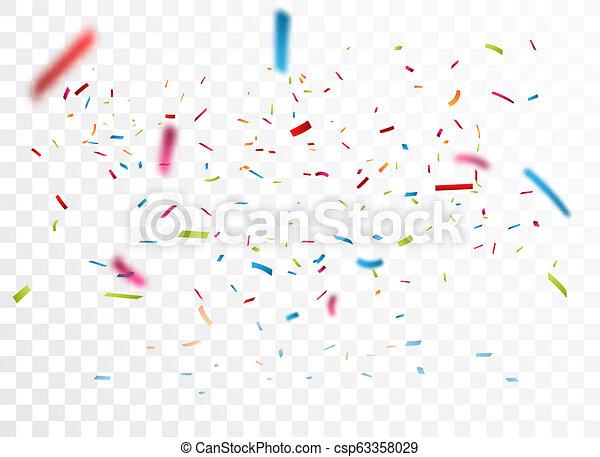 Celebración con confeti colorido, aislado en el fondo transparente - csp63358029