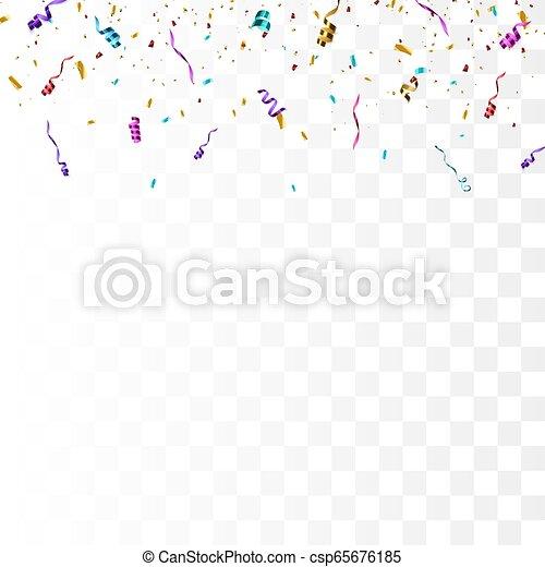 Confeti brillante colorido aislado en el fondo transparente. - csp65676185