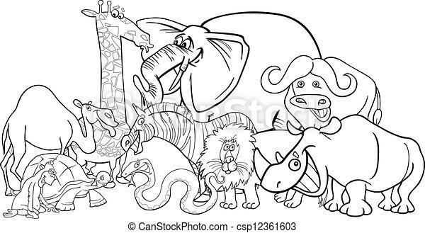 Safariistas africanos caricaturas para colorear - csp12361603