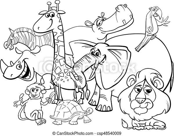 Colorido, animales, caricatura, safari, página. Colorido,... clipart ...