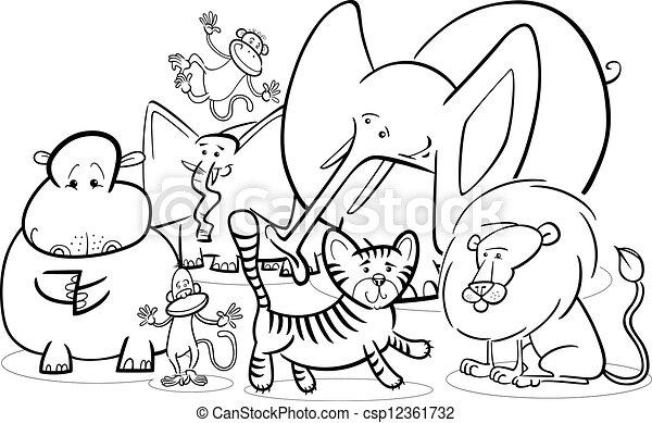 Colorido, animales, caricatura, safari, africano. Lindo, colorido ...