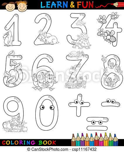 Numeros Con Dibujos Animados Para Colorear Libro De Color De