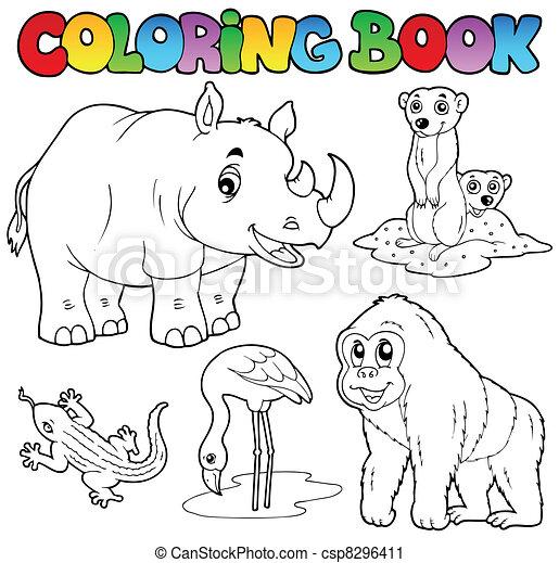Colorido, animales, zoo, 1, conjunto, libro. Colorido, conjunto ...