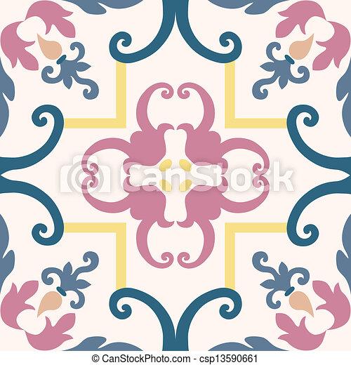 Azulejos de ornamento sin color - csp13590661
