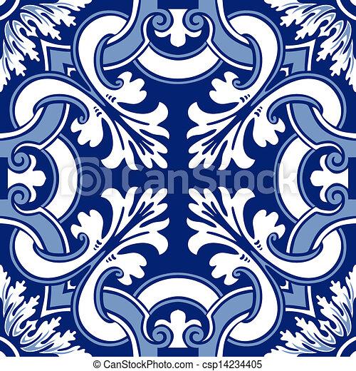Azulejos de ornamento sin color - csp14234405