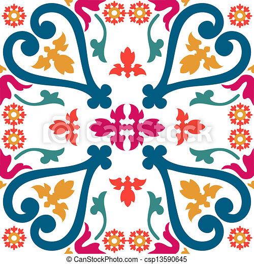 Azulejos de ornamento sin color - csp13590645
