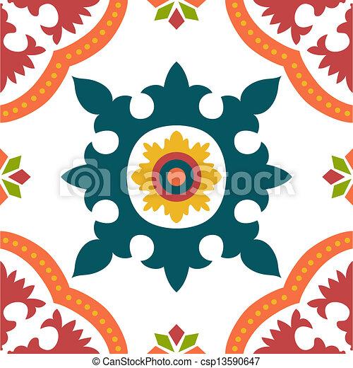 Azulejos de ornamento sin color - csp13590647