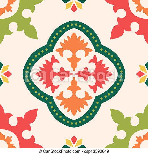 Azulejos de ornamento sin color - csp13590649