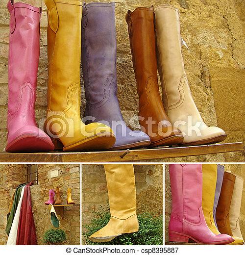 Una colección de botas de cuero - csp8395887