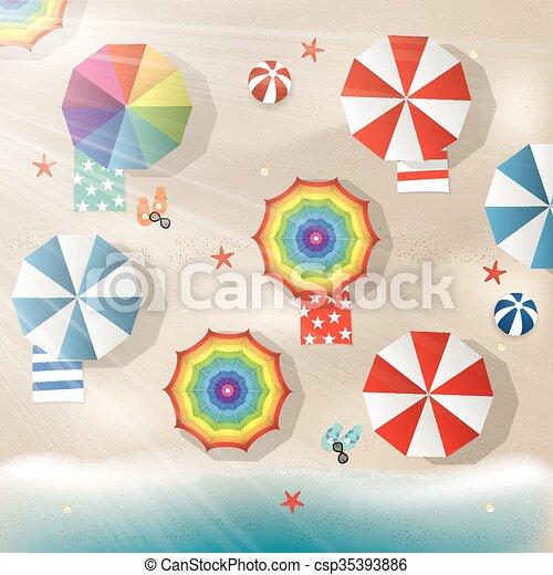 Brillante ilustración de sombrillas coloridas y mar - csp35393886